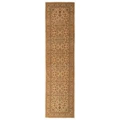 1950s Midcentury Vintage Kashan Runner Beige Brown Persian Floral Rug