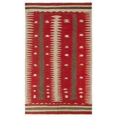 1950s Midcentury Vintage Kilim Rug Beige Red Tribal Pattern