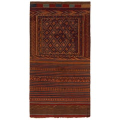 1950s Mid-Century Vintage Kilim Rug Orange Brown Tribal Pattern