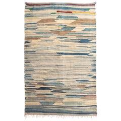 1950s Midcentury Vintage Moroccan Kilim Beige Blue Striped Flat-Weave