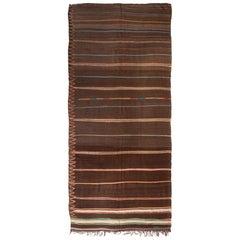 1950s Midcentury Vintage Moroccan Kilim Striped Brown Berber Flat-Weave