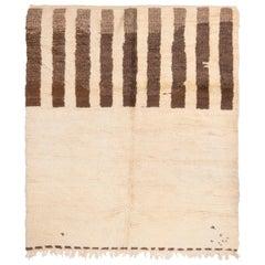 1950s Mid-Century Vintage Moroccan Rug Beige Brown Open Field Pattern
