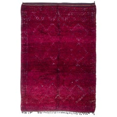 1950s Midcentury Vintage Moroccan Rug Burgundy Red Open Field Pattern
