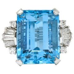 1950s Midcentury 15.40 Carat Aquamarine Diamond Platinum Cocktail Ring