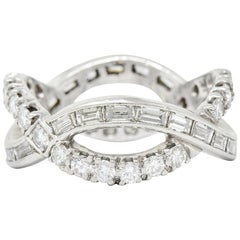 1950s Midcentury 1.77 Carat Diamond Platinum Eternity Band Stacking Ring