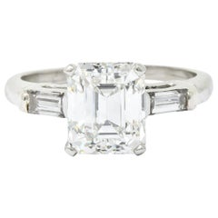 1950s Midcentury 2.72 Carat Emerald Cut Diamond Platinum Engagement Ring GIA