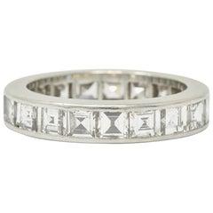 1950s Midcentury 3.80 Carat Diamond Platinum Eternity Band Ring