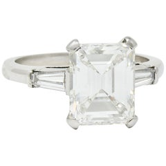 1950s Midcentury 4.12 Carat Diamond Platinum Three-Stone Ring GIA