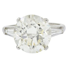 1950s Midcentury 8.23 Carat Diamond Platinum Three-Stone Ring GIA
