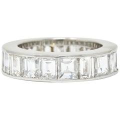 1950s Midcentury 8.50 Carat Step Diamond Platinum Eternity Band Unisex Ring