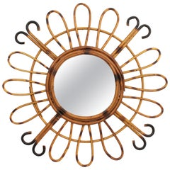 1950s Midcentury French Riviera Handcrafted Rattan and Bamboo Sunburst Mirror