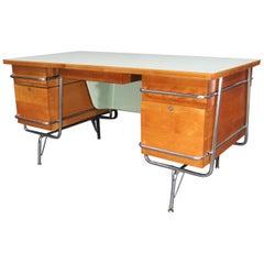 1950s Midcentury Maple/Chrome Trimline Desk by KEM Weber for Heywood Wakefield
