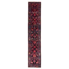 1950s Midcentury Mehraban Runner Blue Red Persian Floral Rug