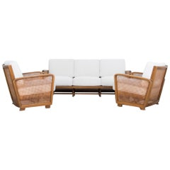 1950s Mid-Century Modern Wooden Sofas, Set of Three