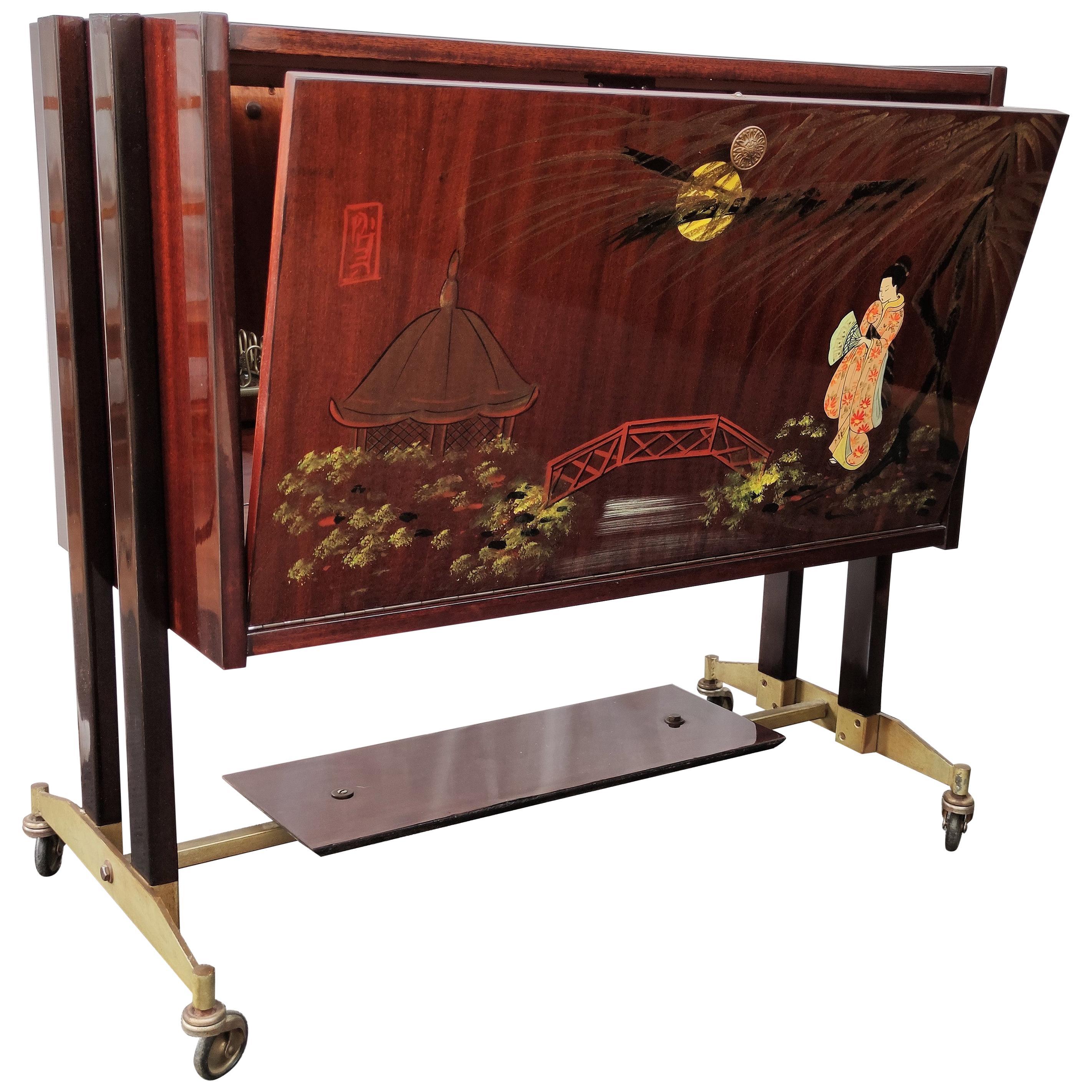 1950s Midcentury Regency Italian Wood, Brass and Mirror Dry Bar Cabinet Cart