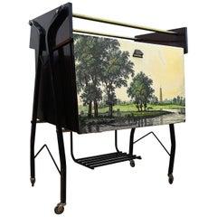 1950s Midcentury Regency Italian Wood, Glass and Mirror Dry Bar Cabinet Cart