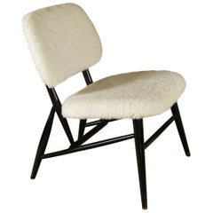 1950s White Wool Ebonised Midcentury Swedish Alf Svensson Hygge Fireside Chair