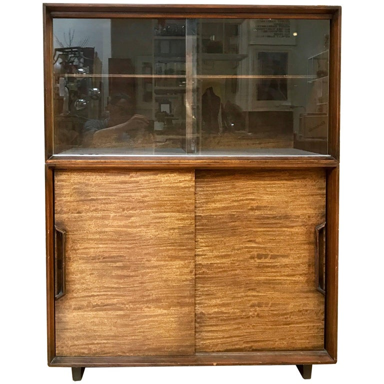 1950s Milo Baughman for Drexel Perspective Mindoro Wood China Hutch