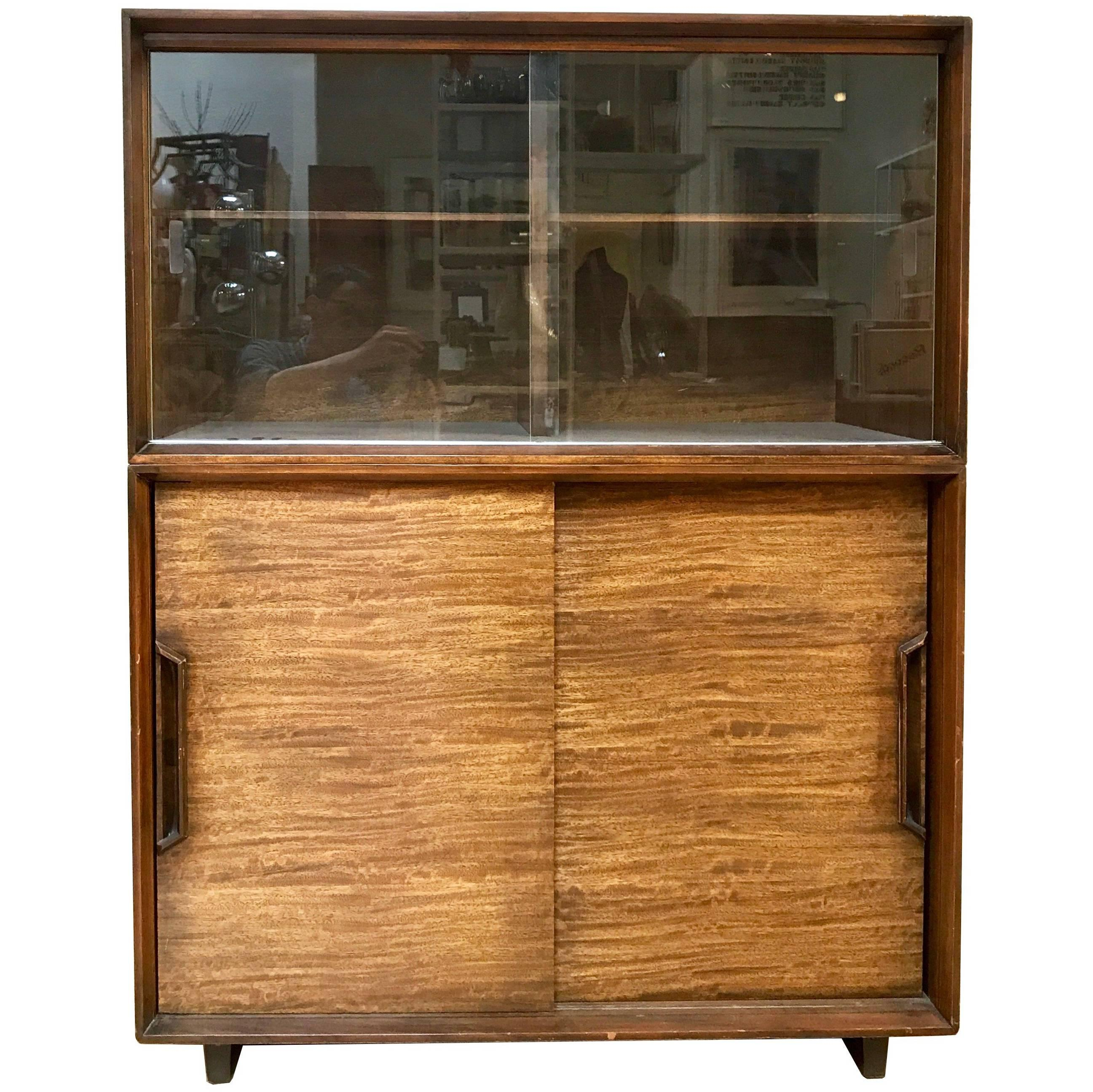 1950s Milo Baughman For Drexel Perspective Mindoro Wood China Hutch For Sale