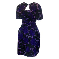 1950's MINGOLINI GUGGENHEIM Purple & Black Floral Print Silk Dress Set size 2-4