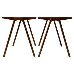 1950s Minimalist Danish Teak and Oak Side / End Tables