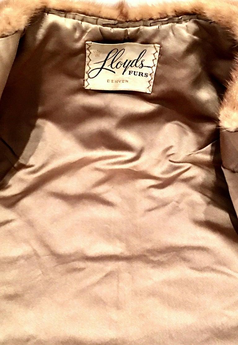 1950'S Mink Whyskey Dyed Mink Fur Capelet Jacket By, Lloyds Fur-Denver For Sale 6