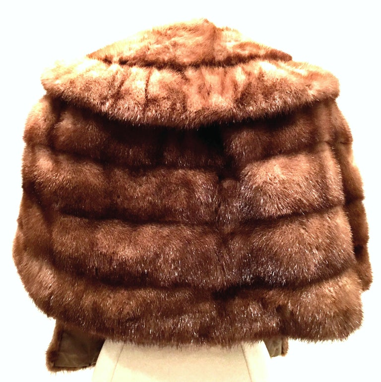 Brown 1950'S Mink Whyskey Dyed Mink Fur Capelet Jacket By, Lloyds Fur-Denver For Sale