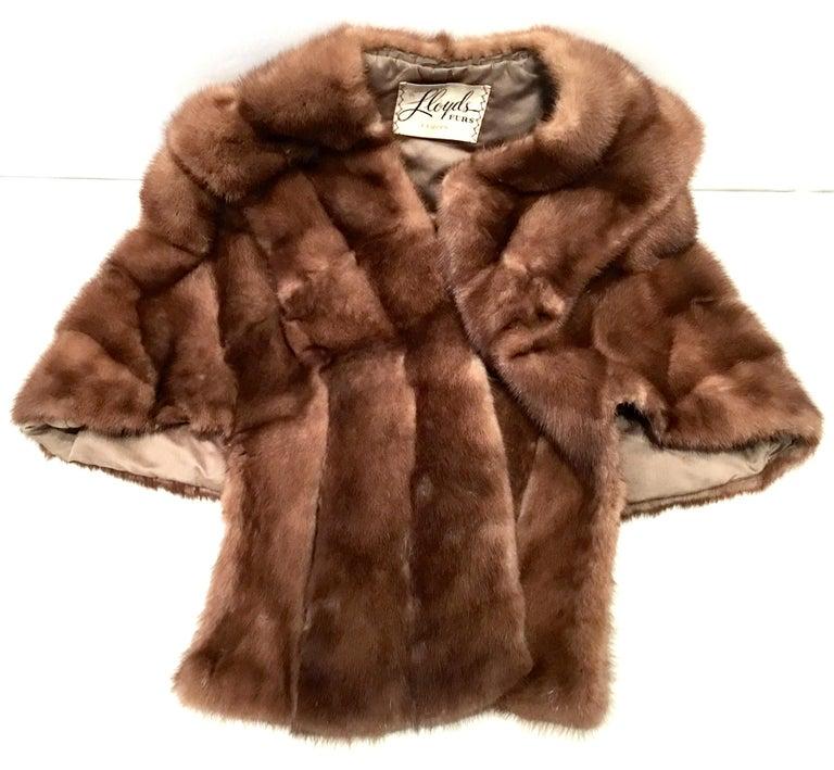 Women's or Men's 1950'S Mink Whyskey Dyed Mink Fur Capelet Jacket By, Lloyds Fur-Denver For Sale