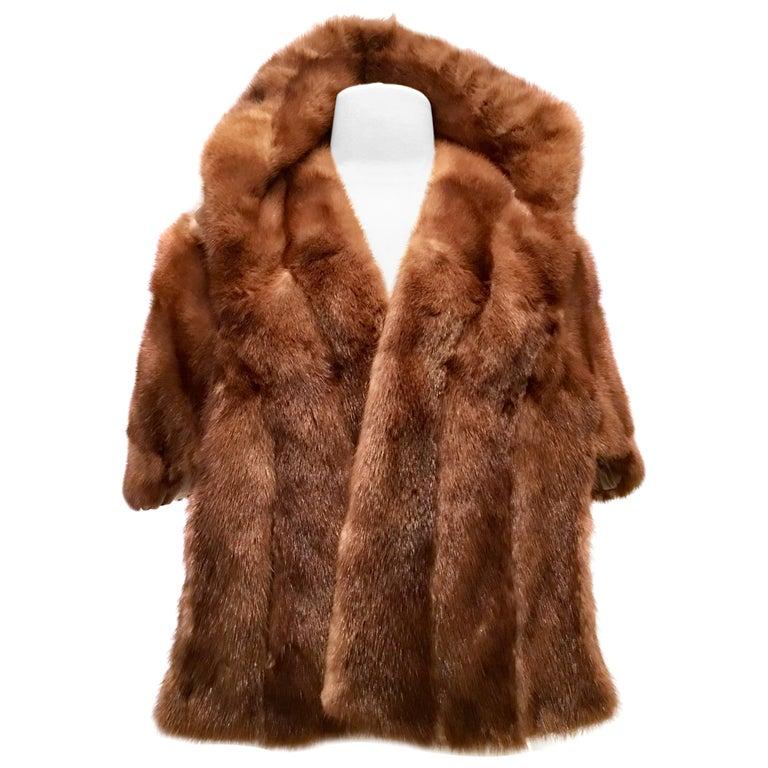 1950'S Mink Whyskey Dyed Mink Fur Capelet Jacket By, Lloyds Fur-Denver For Sale