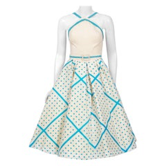 1950's Miss Cane Polka-Dot Ivory Silk Circle-Skirt Dress w/ Matching Sweater