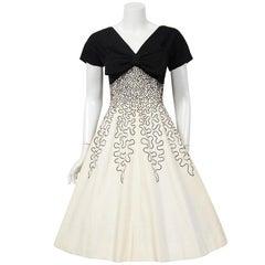 1950's Miss Elliette Embroidered Black & Beige Cotton Shelf-Bust Bow Full Dress