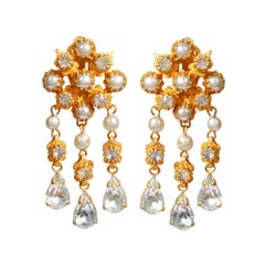 1950s Mitchel Maer for Christian Dior Crystal Teardrop Earrings