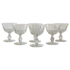 1950s Mitred Glass Coupe Stems, Set of 6
