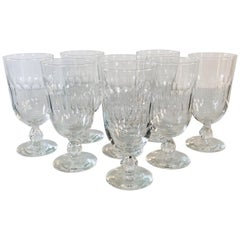 1950s Mitred Tall Glass Water Stems, Set of 8