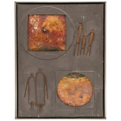 1950s Mixed-Media Abstract Copper Wall Art