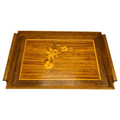 1950s Modern Chinoiserie Walnut Tray with Floral Inlay