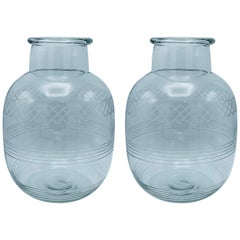 1950s Modern Etched Glass Oversized Vases, Pair