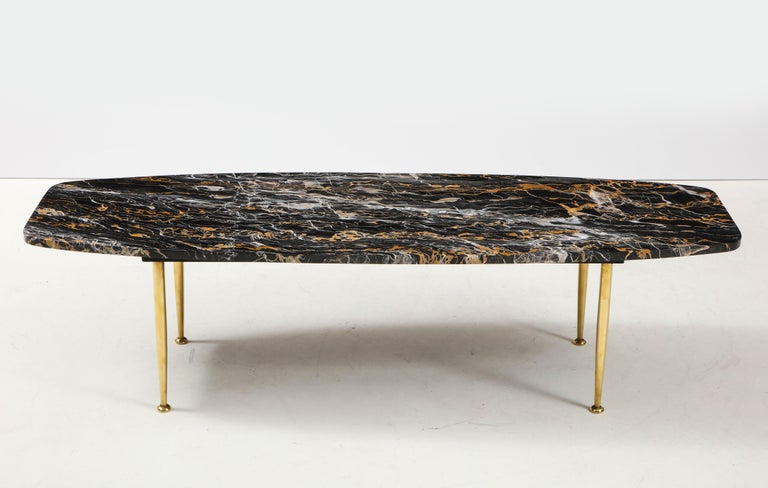American 1950s Modern Exotic Marble-Top with Tapered Brass Legs Italian Coffee Table