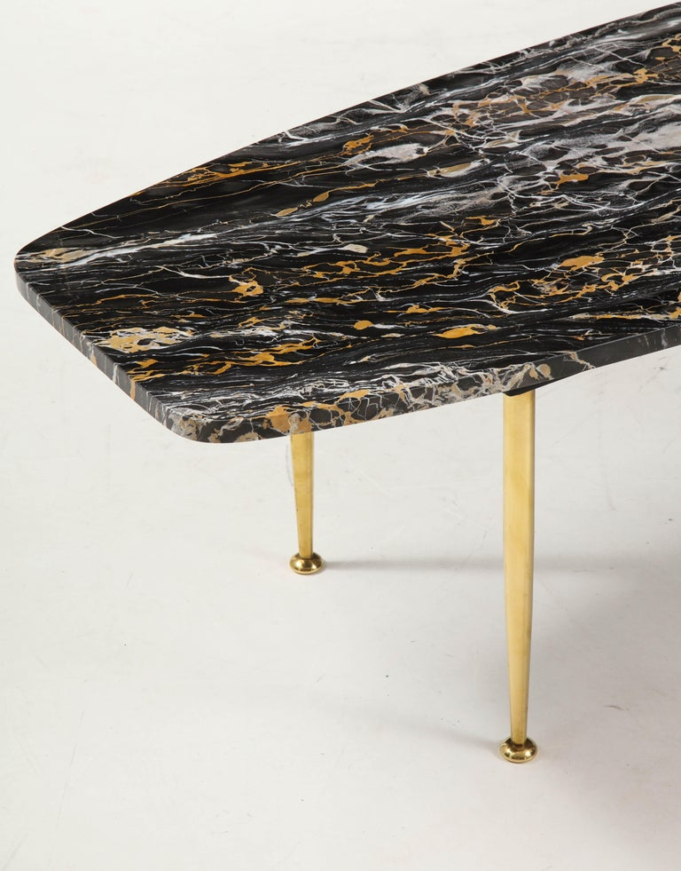 1950s Modern Exotic Marble-Top with Tapered Brass Legs Italian Coffee Table 1