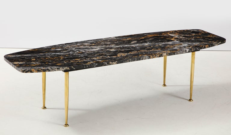 1950s Modern Exotic Marble-Top with Tapered Brass Legs Italian Coffee Table 3