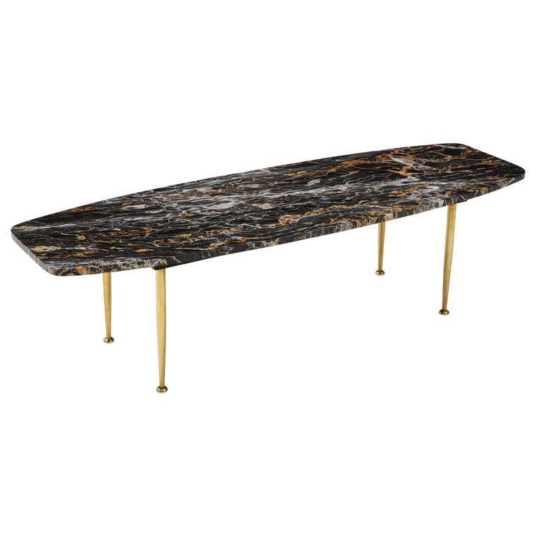 1950s Modern Exotic Marble-Top with Tapered Brass Legs Italian Coffee Table