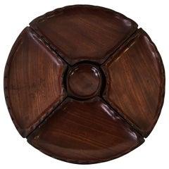1950s Modern Rosewood Five-Piece Pedestal Serving Tray