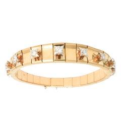 1950s Modernist Diamond Rose Gold Bracelet