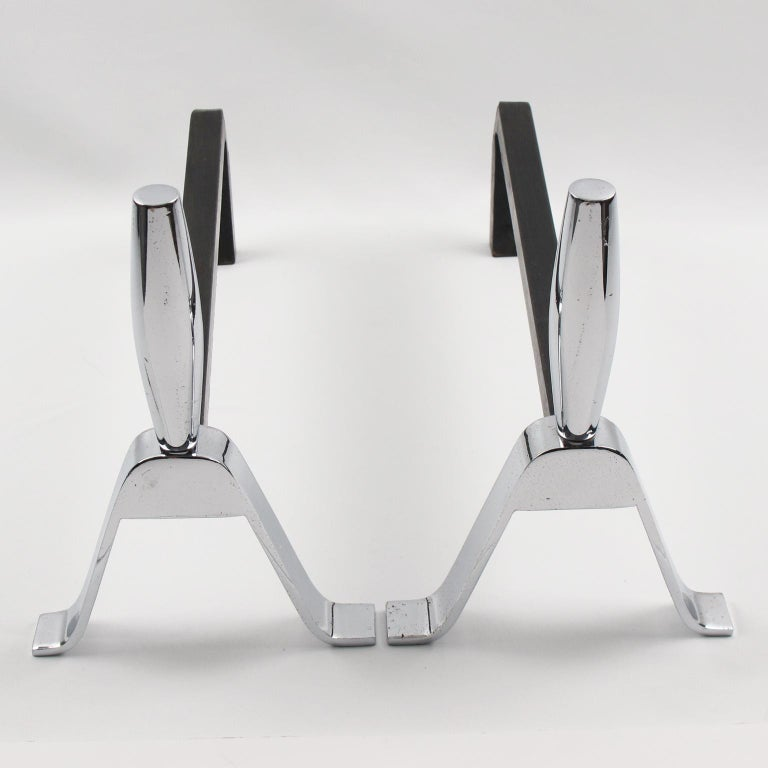 Mid-Century Modern 1950s Modernist French Polished Chrome and Wrought Iron Andirons For Sale