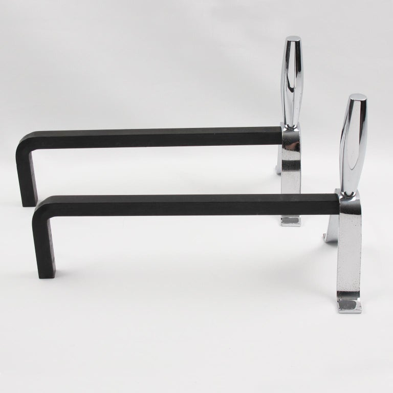 1950s Modernist French Polished Chrome and Wrought Iron Andirons In Excellent Condition For Sale In Atlanta, GA