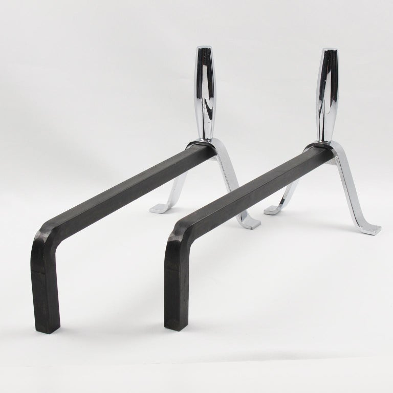 Mid-20th Century 1950s Modernist French Polished Chrome and Wrought Iron Andirons For Sale