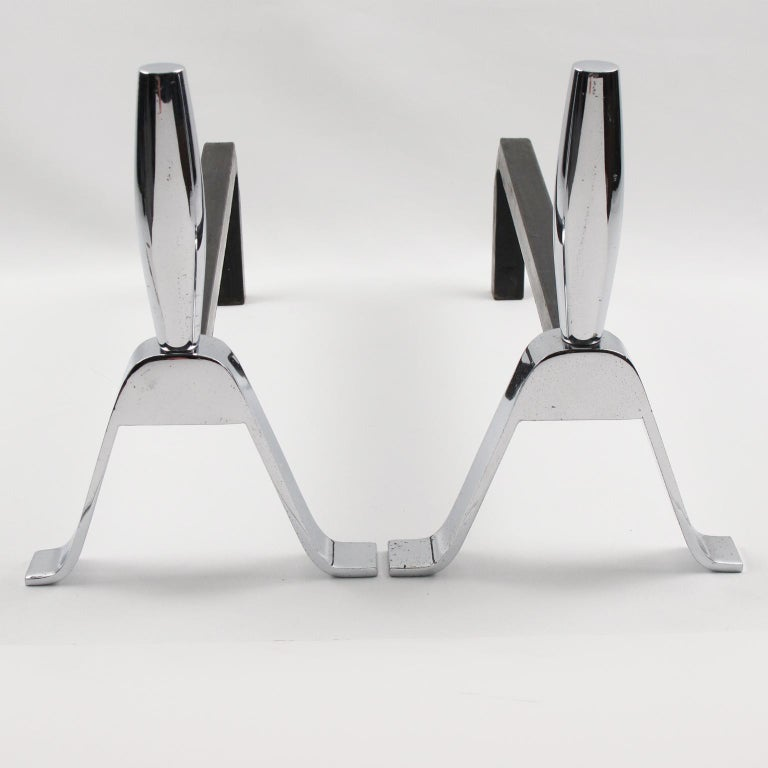 1950s Modernist French Polished Chrome and Wrought Iron Andirons For Sale 1