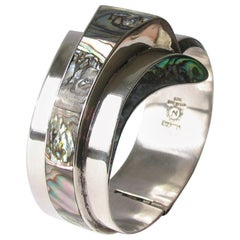 1950's Modernist Mexican Silver And Abalone Wave Cuff Bracelet