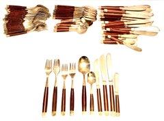 Ruen Thailand Quan Yin Boxed Set Brass /& Rosewood Cutlery 22pc Brass Wood Handle Flatware Dessert Serving Spoons Thailand Utensils