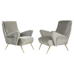 1950's Modernist Sculptural Italian Lounge Chairs with Solid Brass Legs